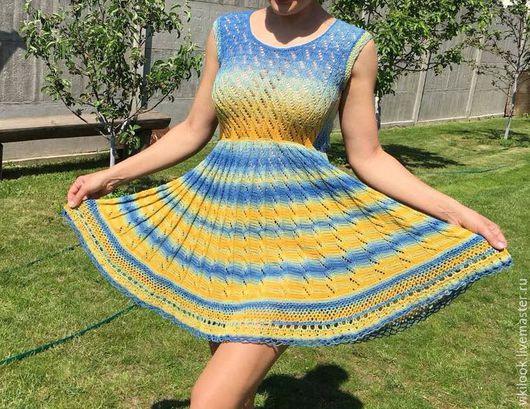 Платья ручной работы. Ярмарка Мастеров - ручная работа. Купить Кружевное хлопковое платье. Handmade. Желтый, кружевное платье