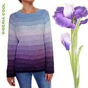 handmade. Livemaster - original item Women`s jumper Irises Flowers, gradient, Ombre effect, cotton. Handmade.