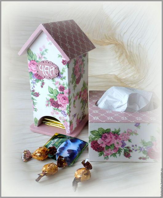 """Кухня ручной работы. Ярмарка Мастеров - ручная работа. Купить Набор для кухни """"Розовый сад"""": чайный домик и салфетница. Декупаж. Handmade."""