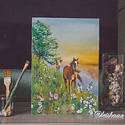 """Картины и панно ручной работы. Ярмарка Мастеров - ручная работа Картина маслом """"Лошади"""". Handmade."""