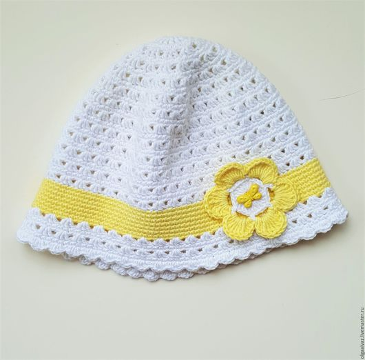 Шапки и шарфы ручной работы. Ярмарка Мастеров - ручная работа. Купить Панама крючком для маленькой леди. Handmade. Белый