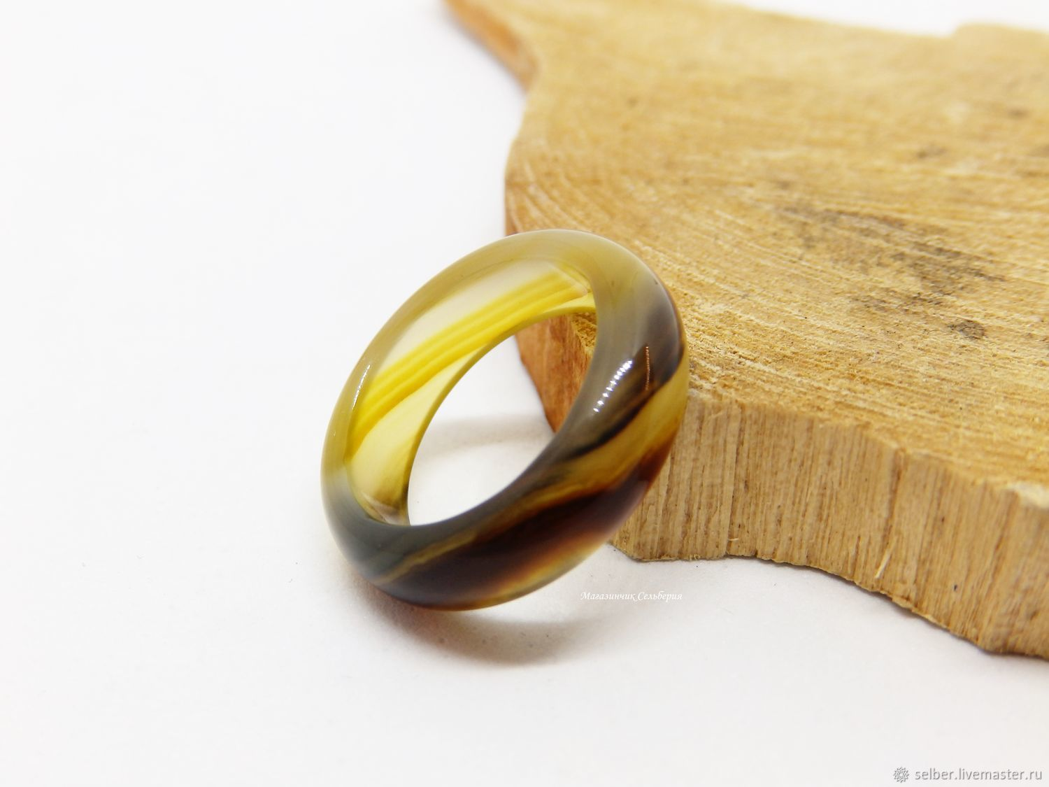 A ring of yellow-brown agate size 16, Rings, Gatchina,  Фото №1