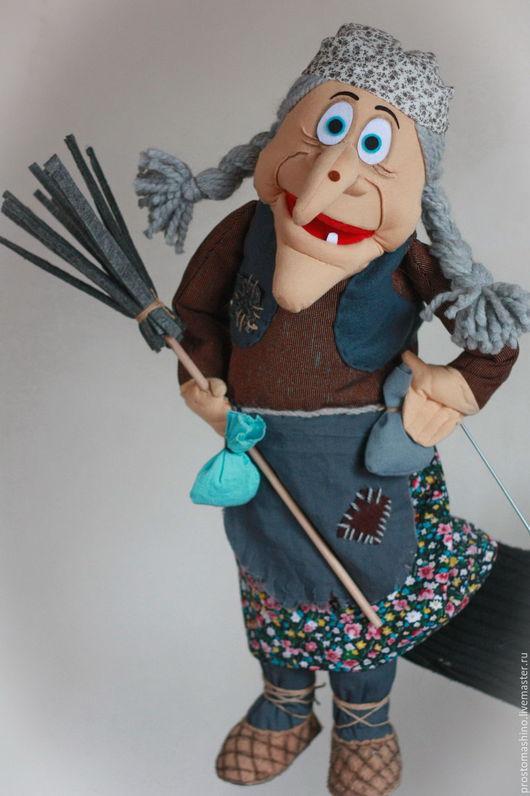 Кукольный театр ручной работы. Ярмарка Мастеров - ручная работа. Купить Яга с метлой. Handmade. Баба-яга, кукла на руку
