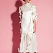 Жемчужнее хлопковое макси элегантное платье с длинным рукавом 004.177