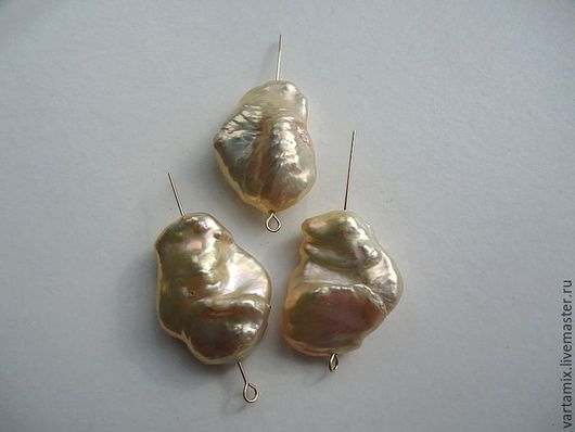 Для украшений ручной работы. Ярмарка Мастеров - ручная работа. Купить СЕТ №10  Жемчуг барочный  крупный золотисто-персиковый. Handmade.
