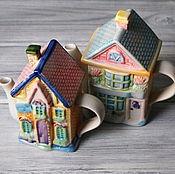 Винтаж ручной работы. Ярмарка Мастеров - ручная работа Чайники домики, фарфор, ручное декорирование. Handmade.