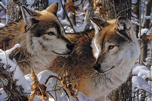 Needlework handmade. Livemaster - handmade. Buy Embroidery Wolves.The author's work, the scheme for embroidery cros, animals