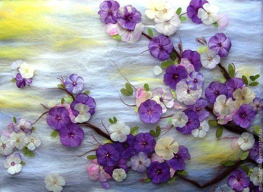 """Картины цветов ручной работы. Ярмарка Мастеров - ручная работа. Купить Картина """"Вайолет"""". Handmade. Тёмно-фиолетовый, лепестки, цветы"""