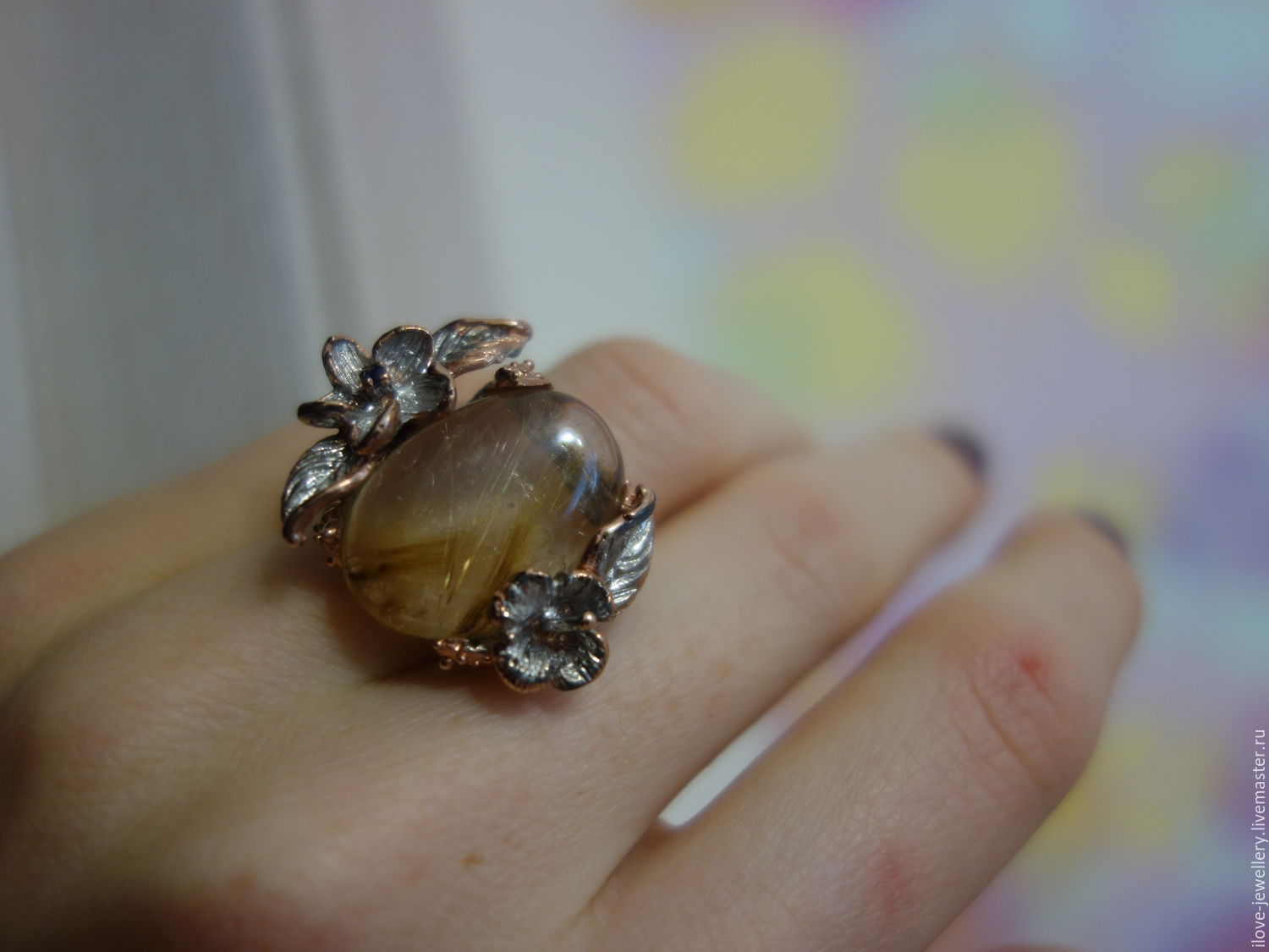 Luigi-beautiful Art ring with rutile quartz and sapphire, Rings, Moscow,  Фото №1