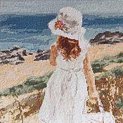 """Картины и панно ручной работы. Ярмарка Мастеров - ручная работа """"Девочка и море"""" вышитая картина. Handmade."""