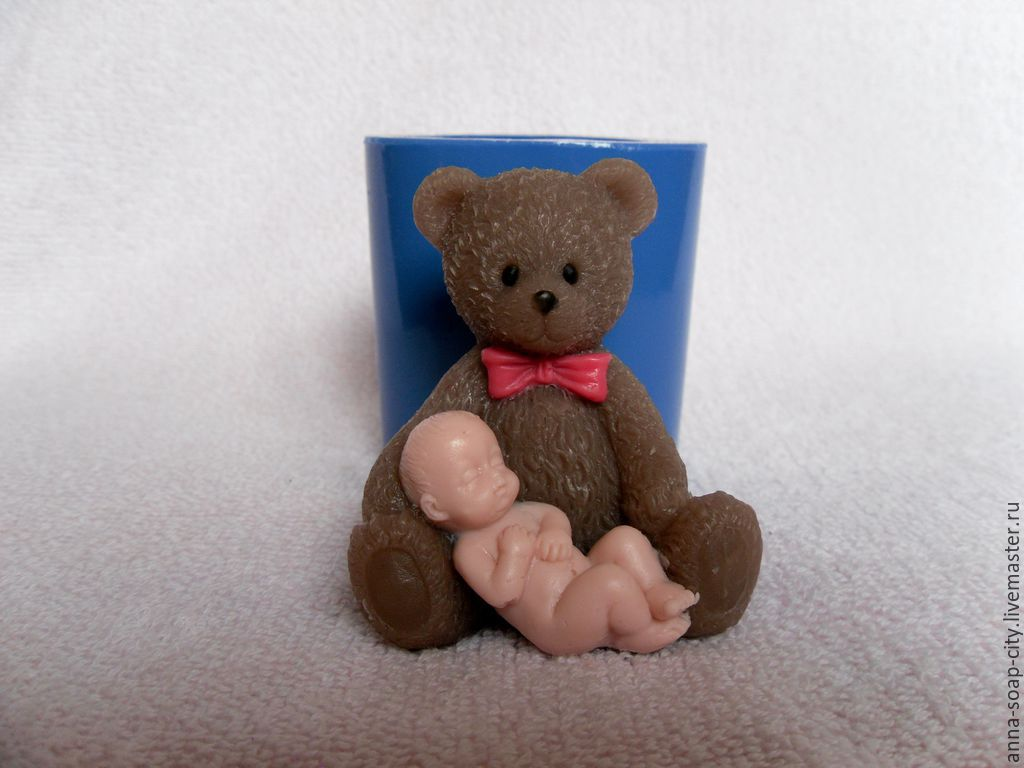 Silicone mold for soap 'Teddy bear and baby', Form, Arkhangelsk,  Фото №1