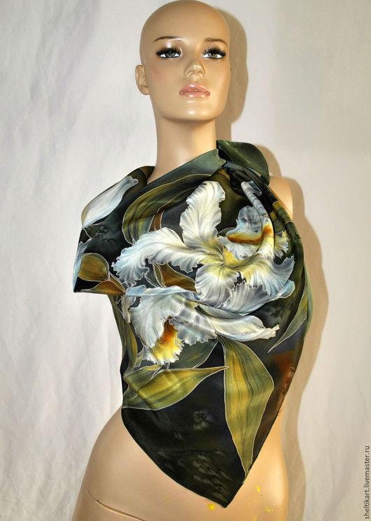 """Шали, палантины ручной работы. Ярмарка Мастеров - ручная работа. Купить Платок Батик """" Дикая орхидея"""". Handmade. Зеленый"""