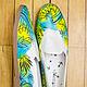 """Обувь ручной работы. Ярмарка Мастеров - ручная работа. Купить Тапки-кеды с росписью """"Лето"""". Handmade. Расписные кеды, обувь"""