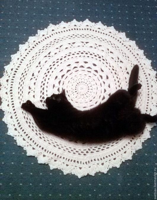 Текстиль, ковры ручной работы. Ярмарка Мастеров - ручная работа. Купить Коврик прикроватный вязаный. Handmade. Молочный цвет