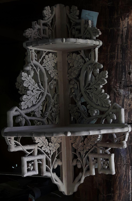 Мебель ручной работы. Ярмарка Мастеров - ручная работа. Купить Резьба по дереву угловая полочка из массива березы. Handmade. Интерьер