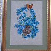 """Картины и панно ручной работы. Ярмарка Мастеров - ручная работа Картина цветов ручной работы.Картина вышитая лентами""""Незабудки"""". Handmade."""