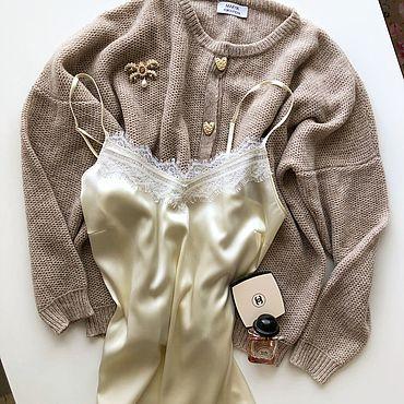Одежда ручной работы. Ярмарка Мастеров - ручная работа Нежный топ из натурального итальянского шёлка La Perla с кружевом. Handmade.