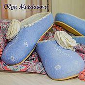 Обувь ручной работы handmade. Livemaster - original item Slippers women`s felted blue with a flower. Handmade.