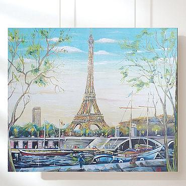 Diseño y publicidad manualidades. Livemaster - hecho a mano Buen tiempo cielo azul Francia París nave canal personas. Handmade.