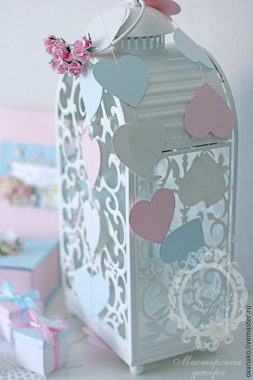 Гирлянда из сердечек пастельных цветов