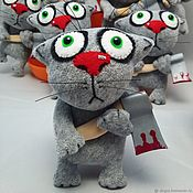 Куклы и игрушки handmade. Livemaster - original item He first started! Keychain grey cat with an axe by Vasya Lozhkin. Handmade.