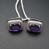 Украшения handmade. Livemaster - original item Silver earrings with amethysts 9h7 mm. Handmade.