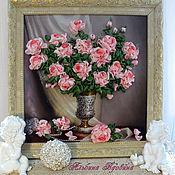 """Картины и панно ручной работы. Ярмарка Мастеров - ручная работа """"Розы для любимой-3""""-вышивка лентами. Handmade."""