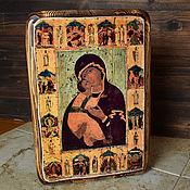 Картины и панно handmade. Livemaster - original item Icon of mother of God of Vladimir with the holidays. Handmade.