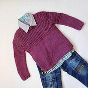 Работы для детей, ручной работы. Ярмарка Мастеров - ручная работа Вязаный шерстяной фиолетовый пуловер для девочки или мальчика.Рост 104. Handmade.
