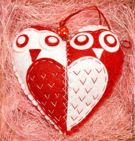 """Подарки для влюбленных ручной работы. Ярмарка Мастеров - ручная работа. Купить Подвеска """"совы-неразлучницы"""". Handmade. Из фетра, любовь"""