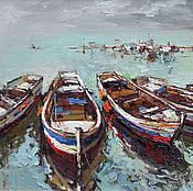 Картины и панно handmade. Livemaster - original item Boats at berth Seascape original oil painting on canvas. Handmade.