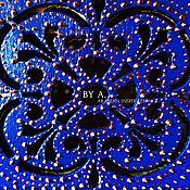 Для дома и интерьера ручной работы. Ярмарка Мастеров - ручная работа Ажурная синяя шкатулка для украшений точечная роспись индийский. Handmade.