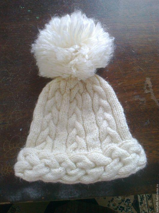 Шапки ручной работы. Ярмарка Мастеров - ручная работа. Купить шапка вязаная на спицах. Handmade. Белый, ажурная вязкка, зимня