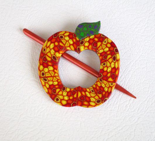 Заколки ручной работы. Ярмарка Мастеров - ручная работа. Купить Заколка для шали Румяное Яблоко (для вязаных вещей). Handmade.