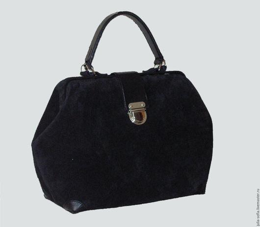 Женские сумки ручной работы. Ярмарка Мастеров - ручная работа. Купить Саквояж замшевый Черный. Handmade. Саквояж, сумка