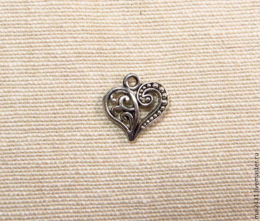 Подвеска резное сердце малое, античное серебро