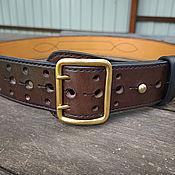 Аксессуары handmade. Livemaster - original item Leather belt belt mod.Komandir Dark Brown. Handmade.