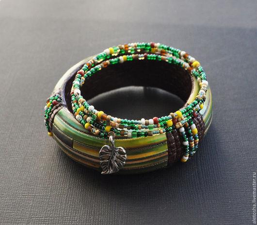 """Браслеты ручной работы. Ярмарка Мастеров - ручная работа. Купить Комплект браслетов """"Зеленый сон"""". Handmade. Разноцветный, зелень, украшение"""