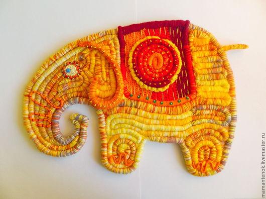 Животные ручной работы. Ярмарка Мастеров - ручная работа. Купить Солнечный Слон. Handmade. Желтый, фен-шуй, моталки, бисер