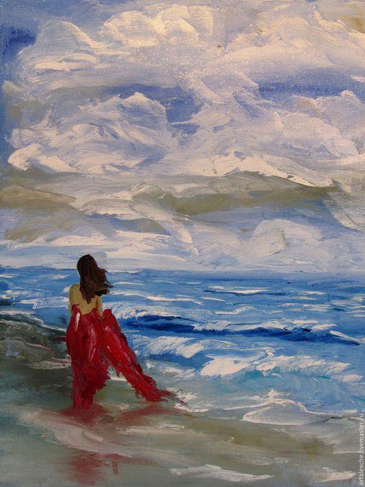 """Пейзаж ручной работы. Ярмарка Мастеров - ручная работа. Купить Картина маслом. """"На берегу"""". Handmade. Голубой, волны, мастихин"""
