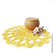 Для дома и интерьера ручной работы. Ярмарка Мастеров - ручная работа кружевная салфетка, вязаная салфетка, 26 см, желтый. Handmade.