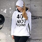 Одежда handmade. Livemaster - original item White women`s sweatshirt with stripes, oversize hoodie. Handmade.