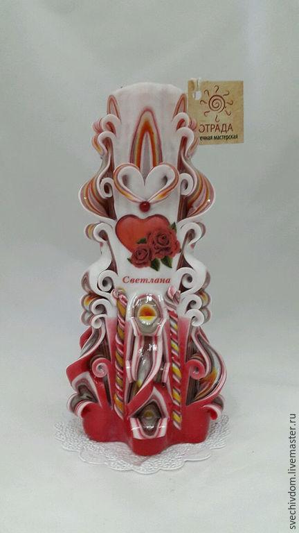 Персональные подарки ручной работы. Ярмарка Мастеров - ручная работа. Купить Именная свеча. Handmade. Ярко-красный, с любовью