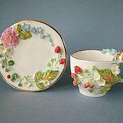 Посуда ручной работы. Ярмарка Мастеров - ручная работа Чайная пара Большая Нежность. Handmade.