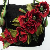 Сумки и аксессуары ручной работы. Ярмарка Мастеров - ручная работа сумка валяная шерстяная, сумка нарядная, маки. Handmade.