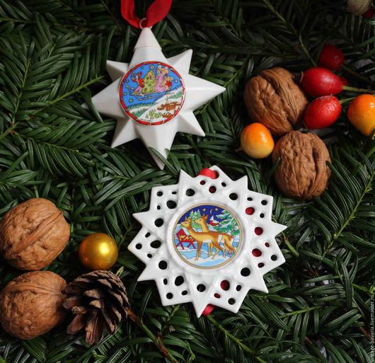 Новый год 2017 ручной работы. Ярмарка Мастеров - ручная работа. Купить Фарфоровая снежинка  и  звезда от Hutschenreuther, Германия. Handmade. Комбинированный