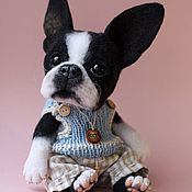 """Куклы и игрушки ручной работы. Ярмарка Мастеров - ручная работа Валяный щенок Бостон-терьер """"Rocky"""". Handmade."""