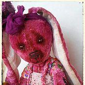 Куклы и игрушки ручной работы. Ярмарка Мастеров - ручная работа Пасхальная зайка тедди из винтажного розового плюша Симочка. Handmade.