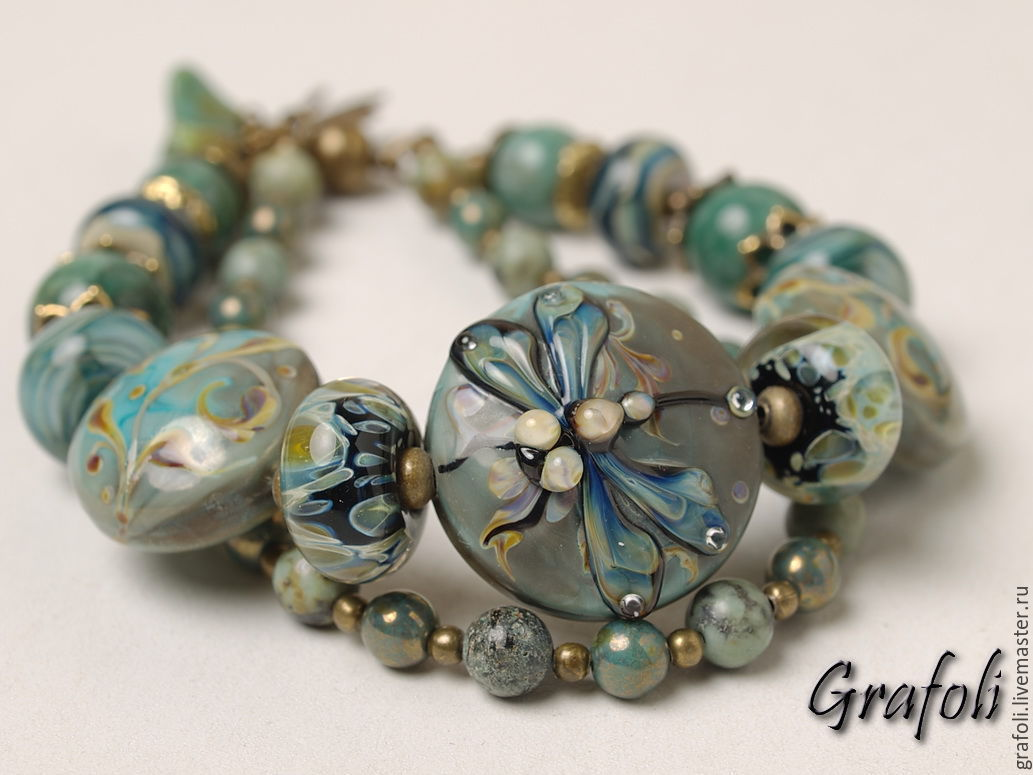 Bracelet with a dragonfly -green, Bead bracelet, Moscow,  Фото №1