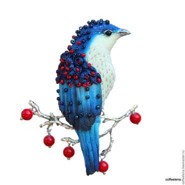 """Украшения ручной работы. Ярмарка Мастеров - ручная работа Брошь-птица """"Кобальт».Птица на ягодной ветке. Handmade."""